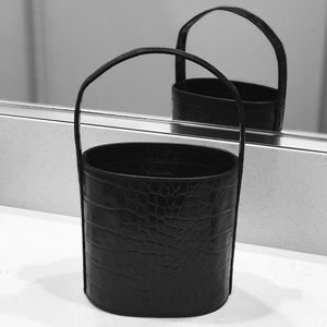 STAUD Bisset Bucket Bag in Black Crocodile Leather
